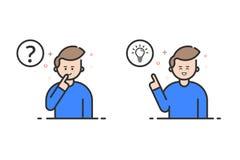 Dirigez l'illustration dans le style plat d'ensemble et la couleur bleue Concept de résolution des problèmes Photos libres de droits