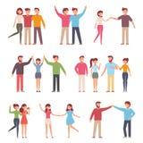 Dirigez l'illustration dans un style plat du groupe de personnes heureuses de mode - meilleurs amis pour toujours photos stock