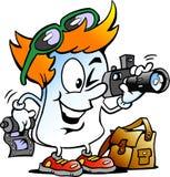 Dirigez l'illustration de bande dessinée d'un rédacteur heureux Paper Photographer Mascot Photographie stock