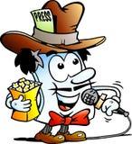 Dirigez l'illustration de bande dessinée d'un rédacteur heureux Paper Reporter Mascot Images stock