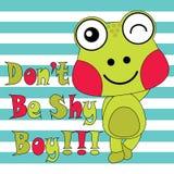 Dirigez l'illustration de bande dessinée de la grenouille mignonne sur le fond rayé Photographie stock libre de droits