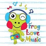 Dirigez l'illustration de bande dessinée de la musique mignonne d'amours de grenouille Photos stock