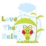 Dirigez l'illustration de bande dessinée des amours mignons de grenouille la pluie Images libres de droits