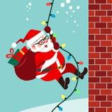 Dirigez l'illustration de bande dessinée du climbin amical mignon de Santa Claus Photographie stock