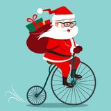 Dirigez l'illustration de bande dessinée du vintag d'antiquité d'équitation de Santa Claus Photo libre de droits