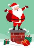 Dirigez l'illustration de bande dessinée de la position de sourire mignonne de Santa Claus illustration libre de droits