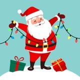 Dirigez l'illustration de bande dessinée de la position de sourire mignonne de Santa Claus Photo stock