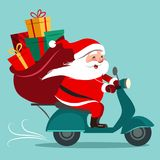 Dirigez l'illustration de bande dessinée de Santa Claus heureuse avec un sac de cadeau Photographie stock