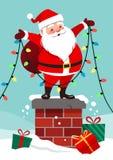Dirigez l'illustration de bande dessinée de Santa Claus heureuse mignonne tenant o Image libre de droits