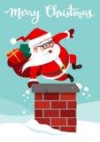 Dirigez l'illustration de bande dessinée de Santa Claus mignonne drôle avec le backp Photo stock