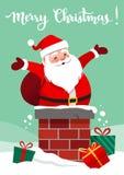 Dirigez l'illustration de bande dessinée de Santa Claus de sourire heureuse dans un ch Photographie stock
