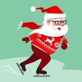 Dirigez l'illustration de bande dessinée de Santa Claus utilisant le chandail rouge W Images libres de droits