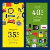 Dirigez l'illustration de bannières de Web de vente avec les éléments de service plats de voiture de style pour le service de voi illustration libre de droits