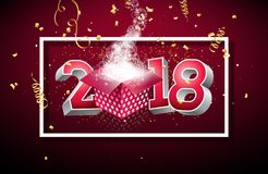 Dirigez l'illustration 2018 de bonne année avec le boîte-cadeau et le nombre 3d sur le fond rouge brillant Conception de vacances illustration de vecteur
