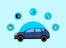 Dirigez l'illustration de concept avec les éléments de service plats de voiture de style illustration de vecteur