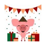 Dirigez l'illustration de couleur du porc rose gentil de bande dessinée avec des boîte-cadeau sur le fond blanc Conception plate  illustration stock