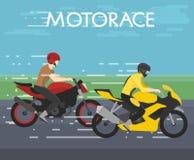 Dirigez l'illustration de deux motocyclistes emballant sur le motorace, concurrence, style plat illustration libre de droits