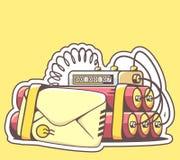 Dirigez l'illustration de l'enveloppe avec de la dynamite rouge sur le dos de jaune Photographie stock libre de droits