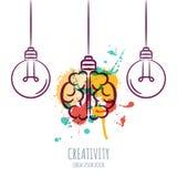 Dirigez l'illustration de l'esprit humain d'aquarelle et décrivez les ampoules, sur le fond blanc Illustration Libre de Droits