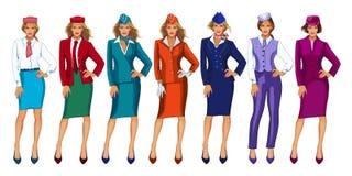 Dirigez l'illustration de l'hôtesse de l'air dans le chapeau uniforme et formel Image stock