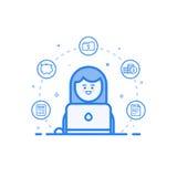 Dirigez l'illustration de l'icône bleue dans la ligne style plate Concept de construction graphique de comptable financier de fem Photos libres de droits
