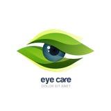 Dirigez l'illustration de l'oeil humain abstrait dans le cadre vert de feuilles Photos libres de droits