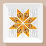 Dirigez l'illustration de la baklava d'un plat blanc carré avec un modèle traditionnel illustration stock