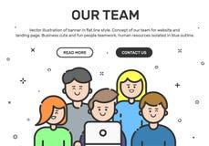 Dirigez l'illustration de la bannière de site Web et de la page d'atterrissage avec des icônes de couleur dans la ligne style pla Images stock