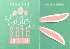 Dirigez l'illustration de la bannière mignonne de vente de Pâques d'amusement avec des oreilles de lapin de Pâques Photo libre de droits