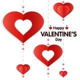 Dirigez l'illustration de la carte de voeux de jour de Valentine s avec les coeurs rouges sur le fond blanc L'origami dénomme, él illustration de vecteur