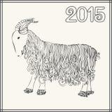 Dirigez l'illustration de la chèvre, symbole de 2015 sur le calendrier chinois Images stock