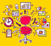 Dirigez l'illustration de la chaise rouge de bureau avec des documents Images libres de droits