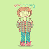 Dirigez l'illustration de la fille mignonne dans des pyjamas souhaitant bonjour Photos stock