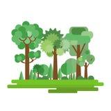 Dirigez l'illustration de la forêt dans un style plat d'isolement sur le fond blanc Ensemble d'arbres et d'arbustes EPS10 illustration de vecteur