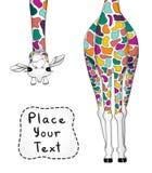 Dirigez l'illustration de la girafe colorée avec l'endroit pour votre texte illustration stock