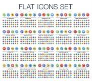 Dirigez l'illustration 500 de la ligne mince plate icônes de Web de couleur illustration libre de droits