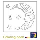 Dirigez l'illustration de la lune de sommeil dans le bonnet de nuit et des étoiles pour livre de coloriage illustration libre de droits