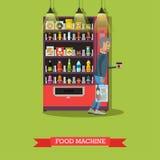 Dirigez l'illustration de la machine et de l'homme de nourriture avec du café Photographie stock