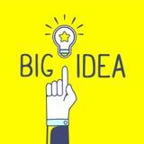 Dirigez l'illustration de la main et de l'ampoule avec le texte o de handwrite Photographie stock libre de droits