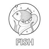 Dirigez l'illustration de la page éducative de coloration avec des cartoonfish pour des enfants Photographie stock libre de droits