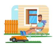 Dirigez l'illustration de la pelouse à la maison de règlage de robot, homme ayant le repos illustration stock