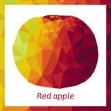 Dirigez l'illustration de la pomme dans le bas poly style Pomme triangulaire décorative de forme polygonale faite en texture de m Image libre de droits