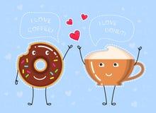 Dirigez l'illustration de la tasse de café, beignet avec le lustre de chocolat, tasse de café Photos libres de droits