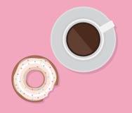 Dirigez l'illustration de la tasse du café et du beignet Images libres de droits