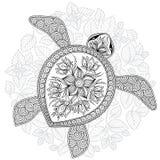 Dirigez l'illustration de la tortue de mer pour des pages de livre de coloriage Images stock
