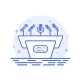 Dirigez l'illustration de la tribune de concept d'icône avec des microphones dans la ligne style Images stock