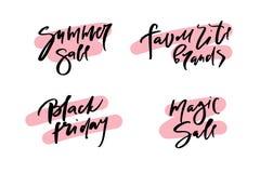 Dirigez l'illustration de la vente d'été de calligraphie, marques préférées, vendredi noir, vente magique, logotype, la copie, te illustration de vecteur