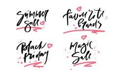 Dirigez l'illustration de la vente d'été de calligraphie, marques préférées, vendredi noir, vente magique, logotype, la copie, te illustration stock