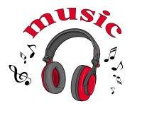 Dirigez l'illustration de l'les écouteurs gris rouges sur un fond blanc et une musique d'inscription Illustration Stock