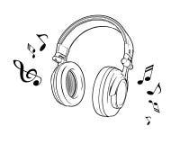 Dirigez l'illustration de l'les écouteurs noirs et blancs sur un fond blanc Illustration de Vecteur